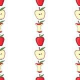 Czerwony jabłko, jabłczany sedno, połówka jabłka Zdjęcie Royalty Free