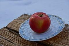 Czerwony jabłko na białej półkowej pozyci na kawałku drewno Obrazy Royalty Free