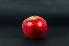Czerwony jabłko odizolowywający na ciemnego czerni tle Zdjęcia Royalty Free