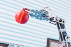 Czerwony jabłko w robot ręce obraz royalty free