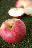 Czerwony jabłko z jabłczanymi plasterkami Obrazy Stock