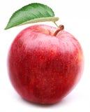 Czerwony jabłko z liściem. obrazy royalty free