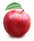 Czerwony jabłko z liściem odizolowywającym na białym tle Fotografia Royalty Free