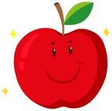 Czerwony jabłko z szczęśliwą twarzą royalty ilustracja