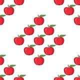 Czerwony jabłczany bezszwowy deseniowy wektor Fotografia Royalty Free