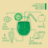 Czerwony jabłczany kale, zieleni soków przepisy wielcy detoxify Zdjęcie Stock