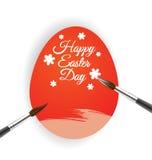 Czerwony jajko i muśnięcie dla Wielkanocnej dzień karty Zdjęcia Royalty Free