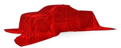 Czerwony jedwab zakrywający furgonetki pojęcie ilustracja 3 d royalty ilustracja