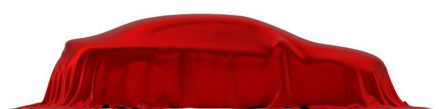 Czerwony jedwab zakrywający samochodowy pojęcie 3d ilustracja, boczny widok ilustracji