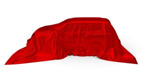 Czerwony jedwab zakrywający SUV samochodu pojęcie ilustracja 3 d royalty ilustracja