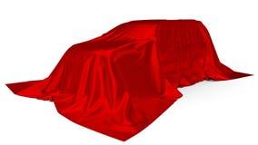 Czerwony jedwab zakrywający SUV samochodu pojęcie ilustracja 3 d ilustracji