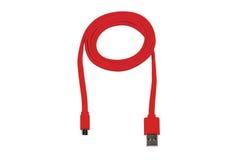 Czerwony kabla mikro usb odizolowywający Obraz Royalty Free
