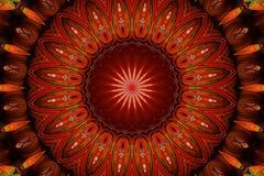 Czerwony kalejdoskopowy kurenda wzór fotografia stock