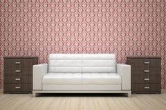 czerwony kanapy ściany biel Zdjęcie Royalty Free