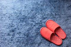 Czerwony kapcia but na błękitnej dywanowej podłoga miękkości macie Obraz Stock