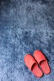 Czerwony kapcia but na błękitnej dywanowej podłoga miękkości macie Obraz Royalty Free