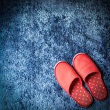 Czerwony kapcia but na błękitnej dywanowej podłoga miękkości macie Obrazy Stock
