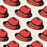 Czerwony kapeluszowy retro bezszwowy tło royalty ilustracja