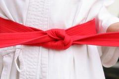 czerwony karate zatrzasku od pasa Obrazy Royalty Free