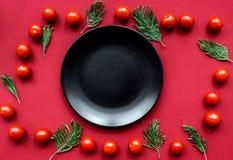 Czerwony karmowy ustawiający z pomidorami up dla restauracyjnego menu odgórnego widoku egzaminu próbnego Obrazy Stock