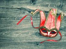 Czerwony karnawał maski arlekin Symbol venetian maskowy festiwal Obrazy Royalty Free