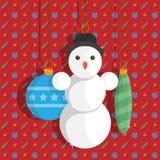 Czerwony kartka z pozdrowieniami z bałwanem i piłkami dla choinki przygotowywa ikonę ilustracja wektor