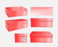 Czerwony kartonowy obuwiany pudełko royalty ilustracja