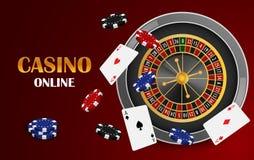 Czerwony kasynowy online pojęcia tło, realistyczny styl ilustracji