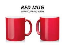Czerwony kawowy kubek odizolowywaj?cy na bia?ym tle Szablon ceramiczny zbiornik dla napoju ?cinek ?cie?ka zdjęcia stock