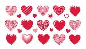 Czerwony kierowy logo, etykietka Ustawia ikony lub symbole na temacie miłość ilustracja wektor