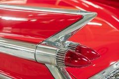 Czerwony klasyczny Cadillac tylni światło fotografia stock