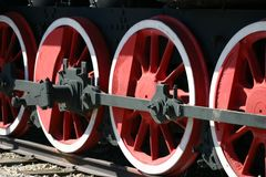Czerwony koło lokomotywy zbliżenie fotografia royalty free