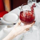 Czerwony koktajl z cranberries, szkło w ręce Zdjęcie Royalty Free