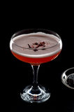 Czerwony koktajl z piany i róż płatkiem widzieć od above Zdjęcia Royalty Free