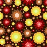 Czerwony koloru żółtego i brązu kwiatów wzór Obrazy Royalty Free