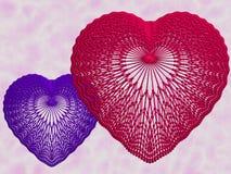 czerwony koronkowa niebieskich serc Obrazy Royalty Free