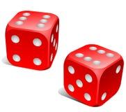 czerwony kostka do gry biel ilustracji