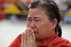 Czerwony koszula wiec w Bangkok Zdjęcia Royalty Free