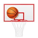 Czerwony koszykówki backboard, piłka i odosobniony Zdjęcia Royalty Free