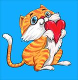 Czerwony kot z czerwonym miłości sercem Zdjęcia Royalty Free