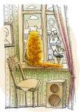 Czerwony kota obsiadanie na okno Obraz Royalty Free