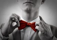czerwony krawat bow Zdjęcia Royalty Free