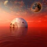 czerwony księżyc planety ilustracji