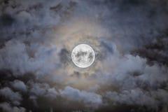 Czerwony księżyc w pełni zaćmienie od Santiago de Chile miasta, widok od południowej półkuli ten zadziwiający astronomiczny wydar obraz stock