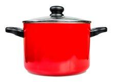 Czerwony kucharstwa garnka dowcipu szkła dekiel Obraz Stock