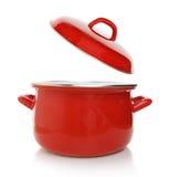 Czerwony kucharstwo garnek zdjęcia stock