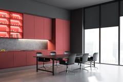 Czerwony kuchnia kąt z półkami i stołem ilustracji