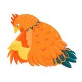 Czerwony kurczak z żółtym kurczątkiem Zdjęcie Royalty Free