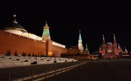 czerwony kwadrat nocy Rosji fotografia royalty free