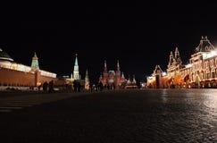 czerwony kwadrat nocy Rosji obraz stock